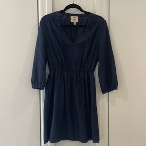Navy blue dress with long sleeves